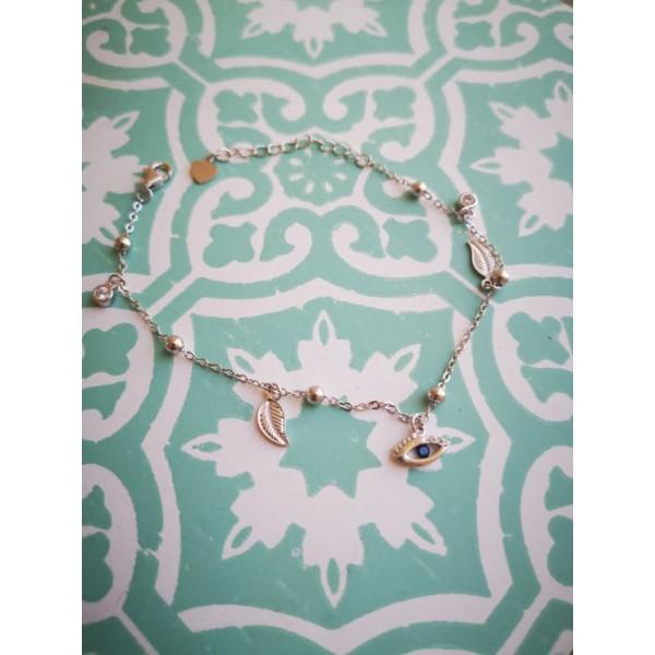 Ασημενια βραχιολια - Βραχιολάκι Με Ματάκια Φύλλα Και Ζιργκόν Βραχιόλια