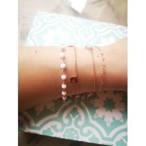 Ασημενια βραχιολια - Βραχιολάκι Ροζ Χρυσό Με Λευκές Χάντρες Βραχιόλια